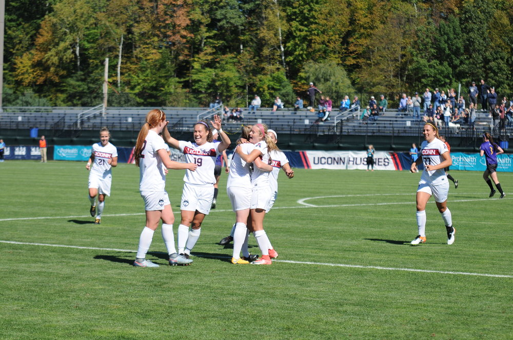 UConn Women's Soccer wins 2-1 at Morrone Stadium against ECU Saturday, Oct. 1, 2017. Spillane (24) and Toole (33) scored winning goals. (Natalija Marosz/The Daily Campus)