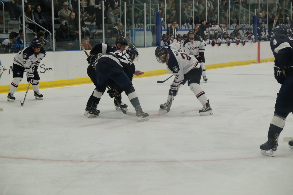 The Huskies emerged victorious against the St. Francis Xavier X-men at Freitas Ice Forum on Saturday Sept 30. Although UConn was drawing numerous penalties, the Huskies won 2-1. (Jon Sammis/The Daily Campus)