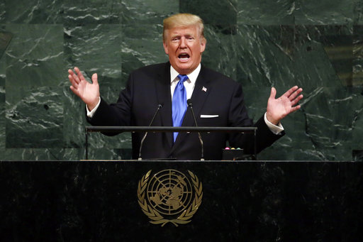 FILE - In this Sept. 19, 2017, file photo, U.S. President Donald Trump addresses the 72nd session of the United Nations General Assembly, at U.N. headquarters. (AP/Richard Drew)
