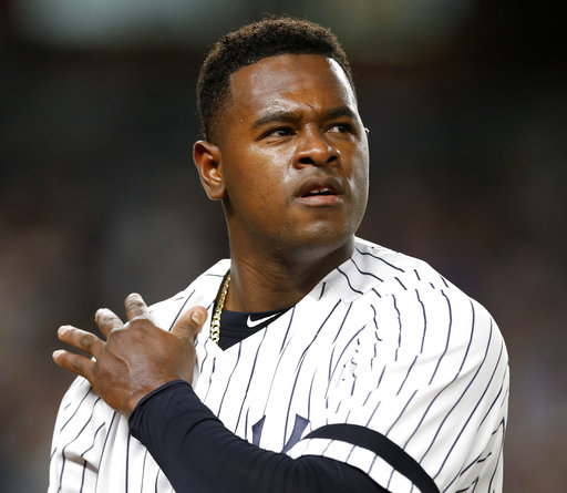 New York Yankees starting pitcher Luis Severino walks off the field after being removed during the first inning game of the American League wild-card playoff baseball game against the Minnesota Twins. The MLB playoffs are unpredictable, even after 162 games. AP/Willens