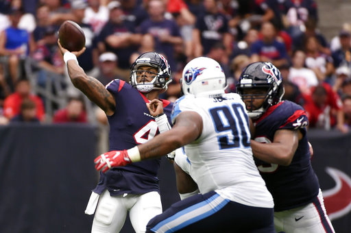 Houston Texans quarterback Deshaun Watson (4) throws against the Tennessee Titans during the second half of an NFL football game, Sunday, Oct. 1, 2017, in Houston. AP/Eric Christian Smith
