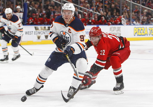 One of the frontrunners for the Hart Trophy include Connor McDavid of the Edmonton Oilers. (AP/Jason Franson