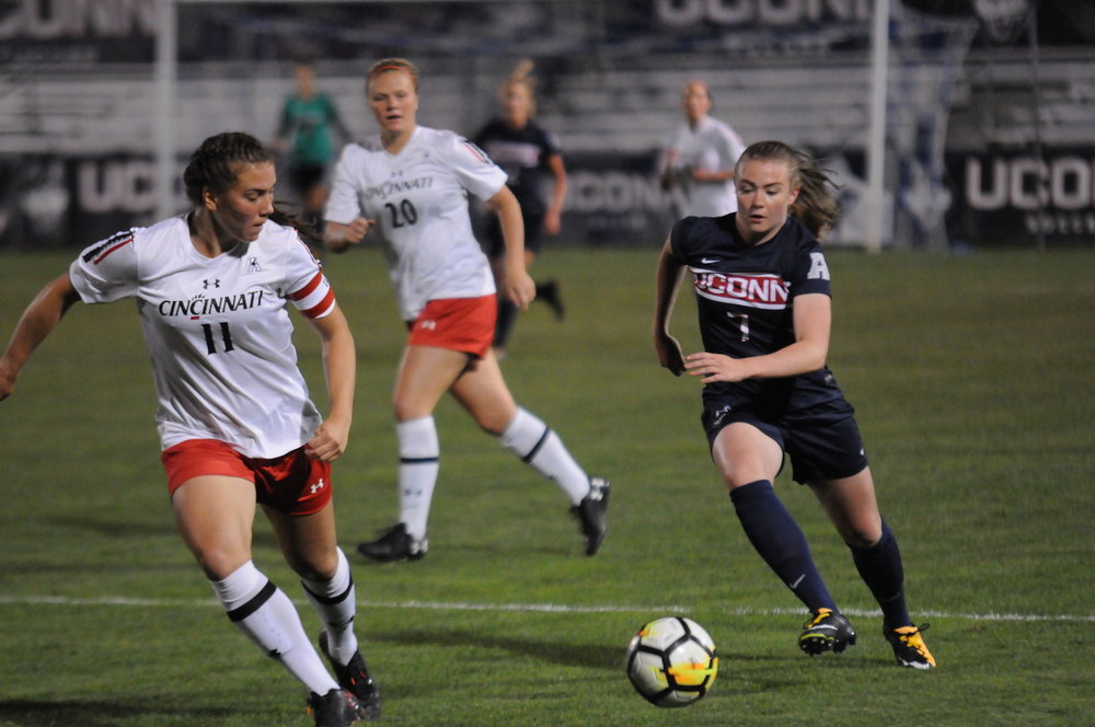 UConn's women's soccer team in a previous match against Cincinnati. (The Daily Campus/Mark Wezenski)