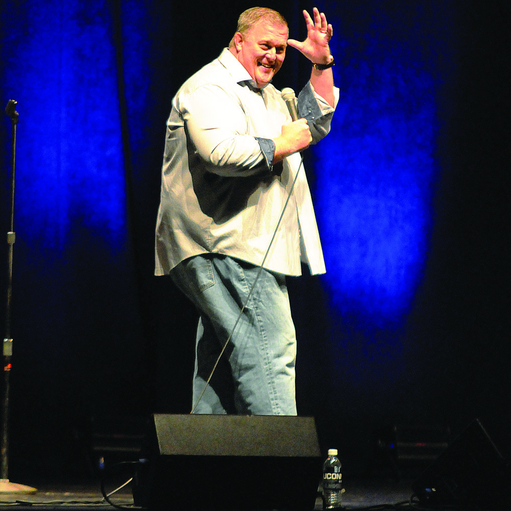 Comedian Billy Gardell, the star of the show Mike and Molly, cracks some jokes and imparts some wisdom at Jorgensen Theater on Saturday Oct. 7. From stories about his parents to his kids, the audience continued to laugh and applaud on a great routine.  (Jon Sammis/The Daily Campus)