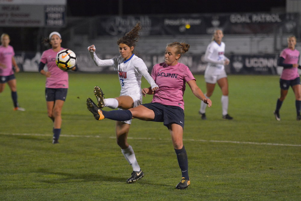 Vivien Beil makes a play on the ball. The UConn offense was impressive on the night. (Nick Hampton/The Daily Campus)