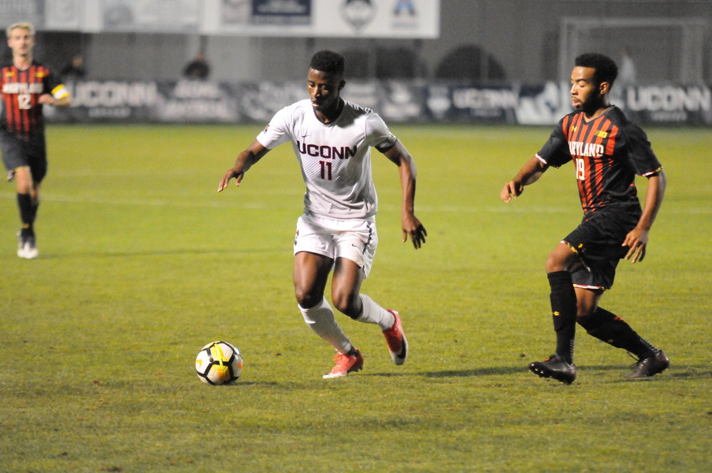 Abdou Mbacke Thiam (pictured) scored again as UConn topped USF 2-0 (Jon Sammis/The Daily Campus)