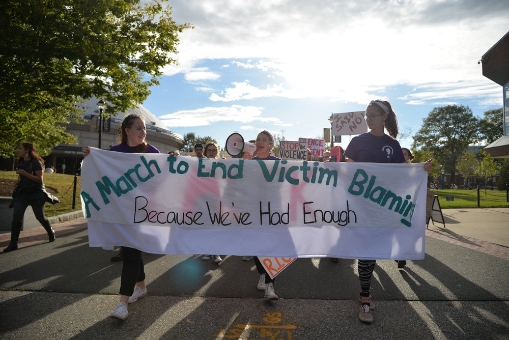 "Students participate in the annual March to end victim blaming on Fairfield Way on Friday, Oct. 13, 2017 in an effort to stamp out rape culture. The event was formally called the ""Slutwalk"".  (Amar Batra/The Daily Campus)"