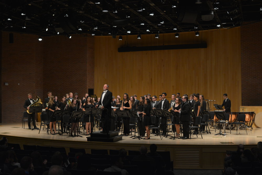 """Dr. David Mills conducted the University of Connecticut Symphonic Band at von der Mehden Recital Hall. The concert, titled """"Sweet (Suite) and Powerful,"""" featured five elegant songs. (Nick Hampton/Daily Campus)"""