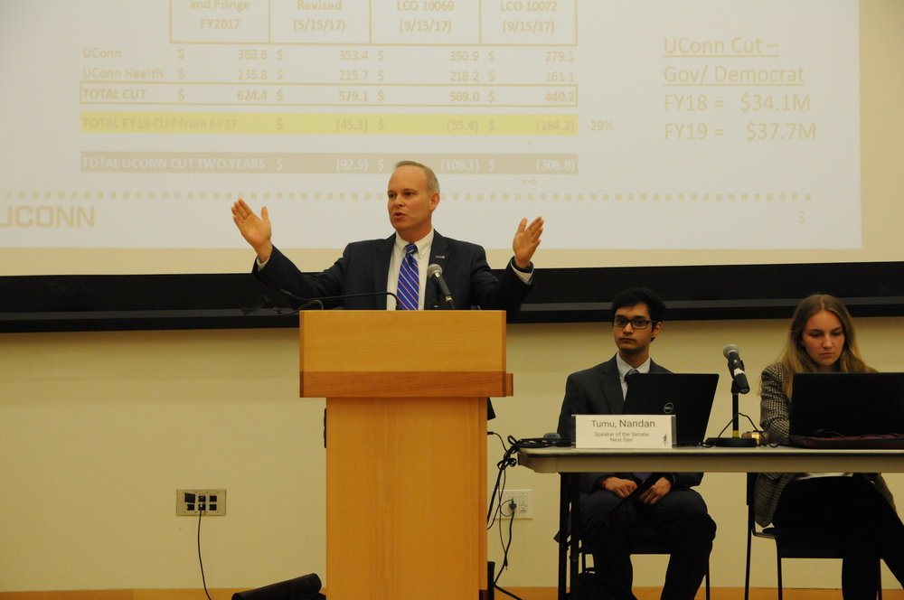 Executive Vice President for Administration and Chief Financial Officer Scott Jordan met with Undergraduate Student Government senators at the USG Senate meeting Wednesday night.(Chelsea Garcia/The Daily Campus)