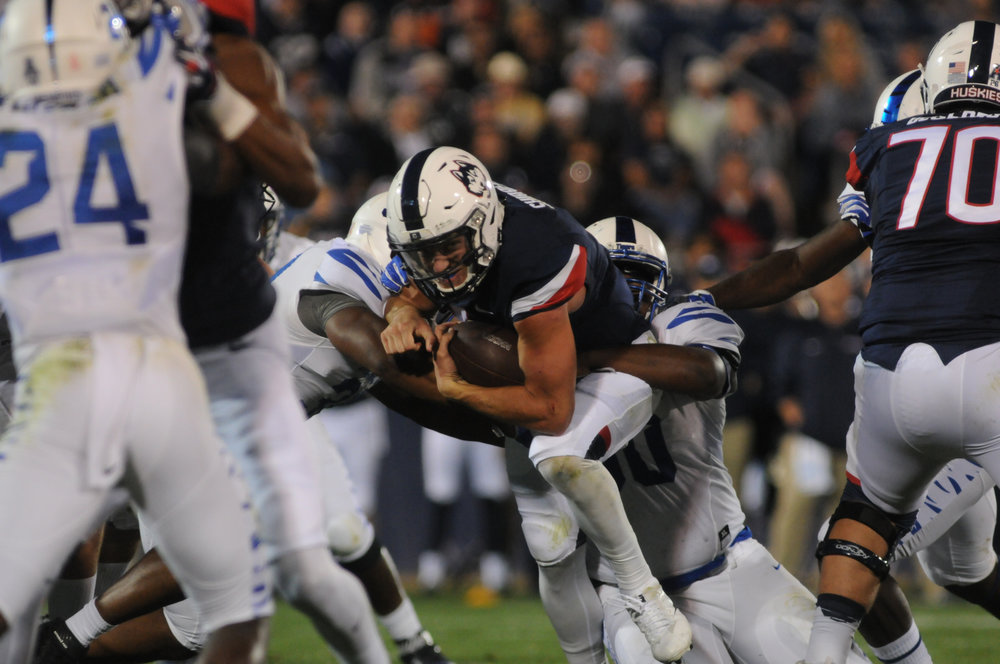 UConn faced a crushing defeat against Memphis on Friday Oct. 6. Although starting off strong, the Huskies couldn't keep the Tiger's offense at bay, leading to a devastating 70-31 defeat. (Jon Sammis/The Daily Campus)