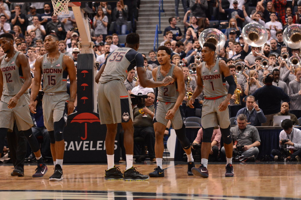 UConn Men's Basketball will play an exhibition game tonight at Mohegan Sun Arena against rival Providence. (Jason Jiang/Daily Campus)