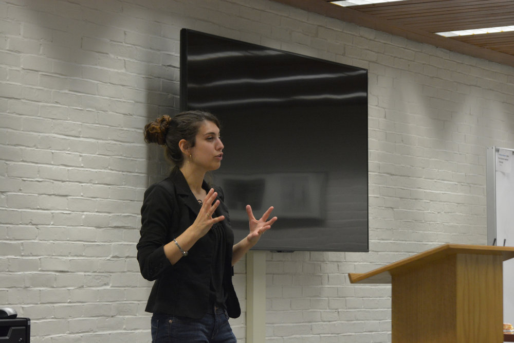 UCHI Fellowship Alycia L. LoBianco spoke about a chapter of her dissertation in the fourth floor conference room of the Homer Babbidge Library. (Nicholas Hampton/The Daily Campus)