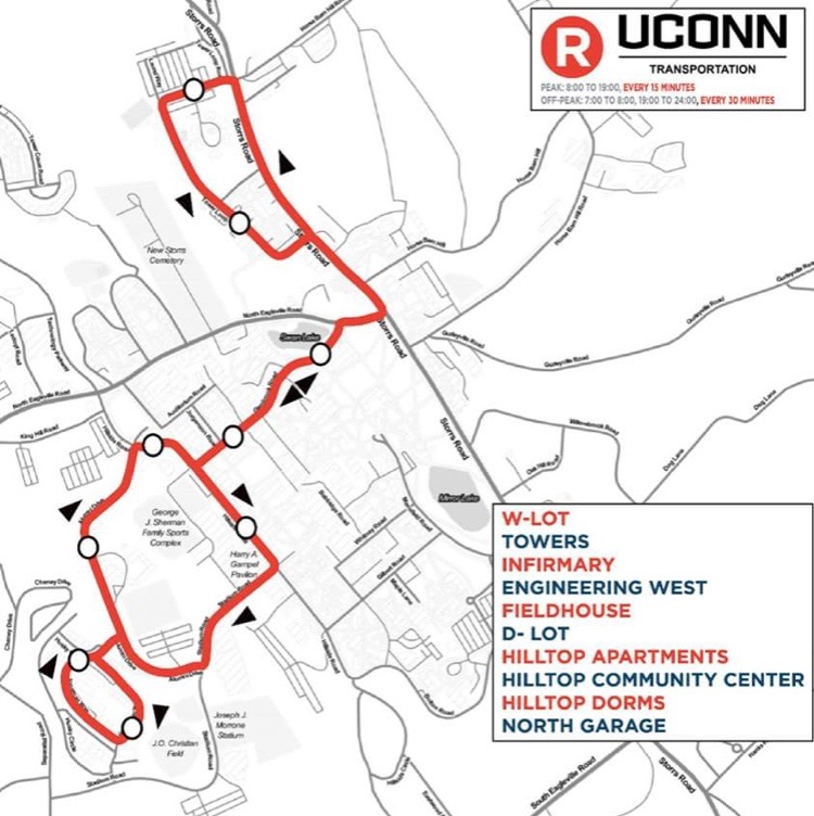 The Red Line will have two buses that arrive at their stops every 15 minutes during peak hours and one bus every 30 minutes during off-peak hours, according to a UConn Transportation Services Facebook post. (Courtesy/UConn Transportation)