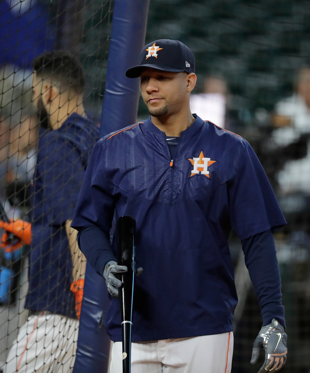 Houston Astros' Yuli Gurriel takes batting practice before Game 4 of baseball's World Series against the Los Angeles Dodgers Saturday, Oct. 28, 2017, in Houston. (AP Photo/David J. Phillip)