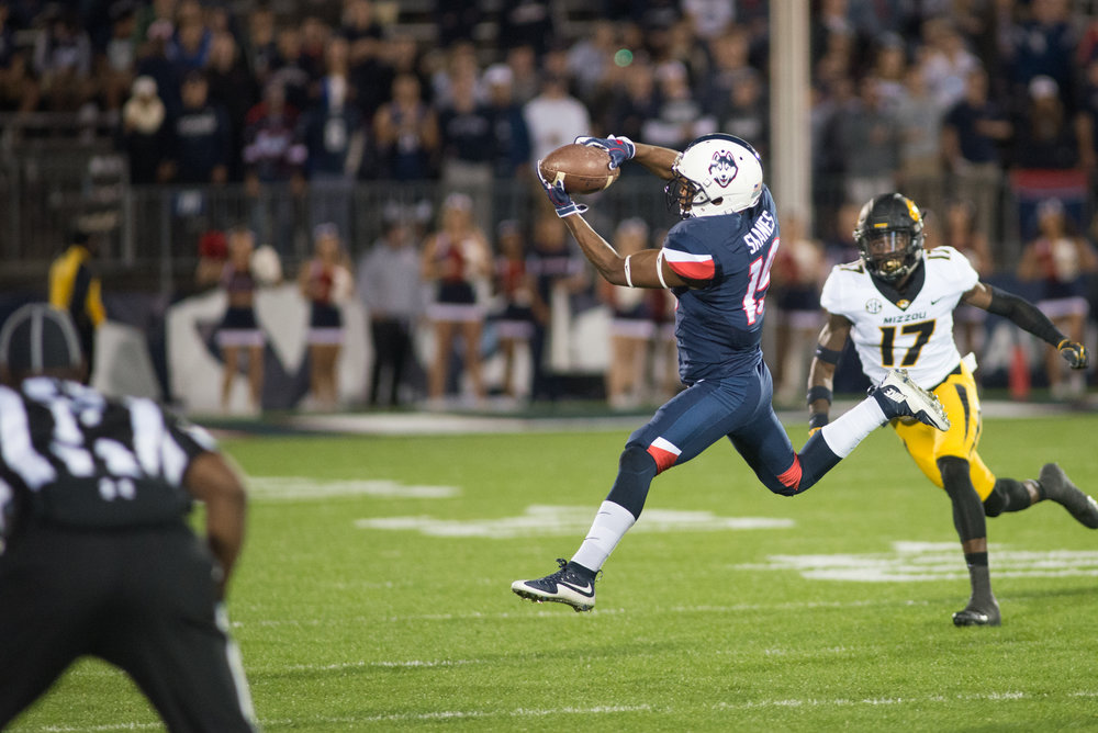 Quayvon Skanes (pictured) makes a grab against the Missouri defense (Amar Batra/The Daily Campus)