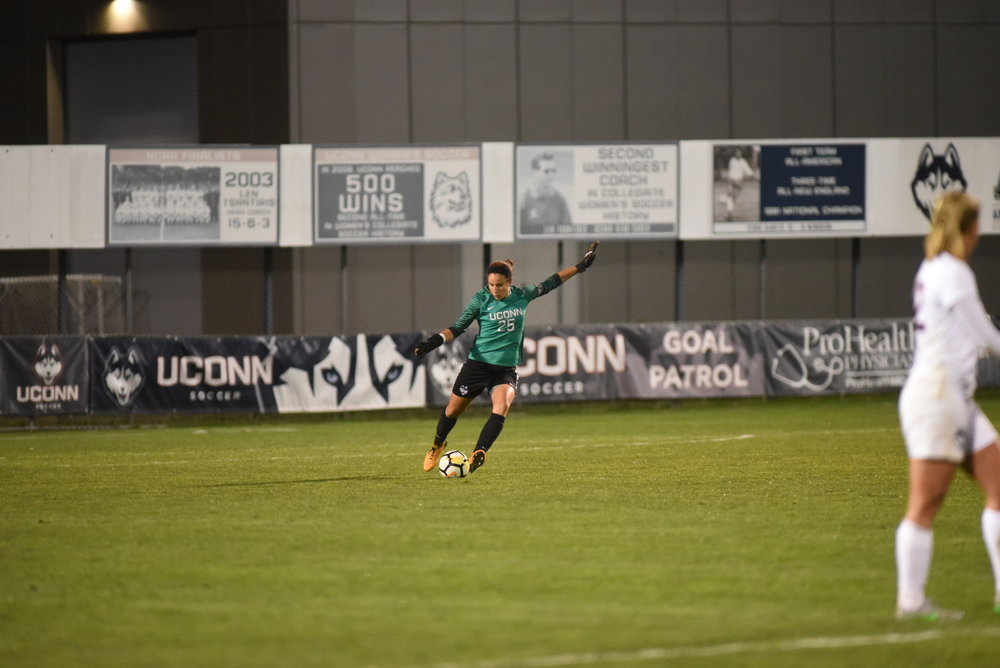 Senior goalie Courtney Hofer made a career high nine saves in a senior night win (Charlotte Lao/The Daily Campus)