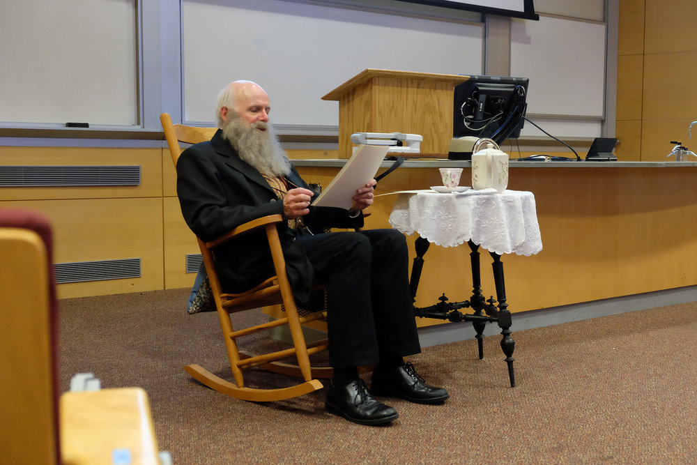 Professor Charles Noll makes a trip as Charles Darwin, Esquire, to UConn's Biology/Physics Building on Saturday, Oct. 28. Noll brings the stories of 19th century Victorian England and his life as a scholar.  (Jon Sammis/The Daily Campus)