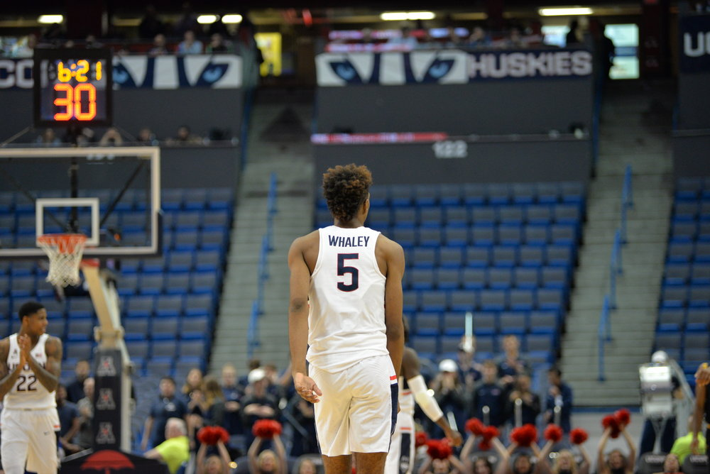 He is Isaiah Whaley, and he is a 6-foot-8, 190-pound freshman forward that put up 10 points and five rebounds in just eight minutes of action Monday, as well as two thunderous putback dunks that brought the crowd at the XL Center to its feet, if only briefly. (Amar Batra/The Daily Campus)