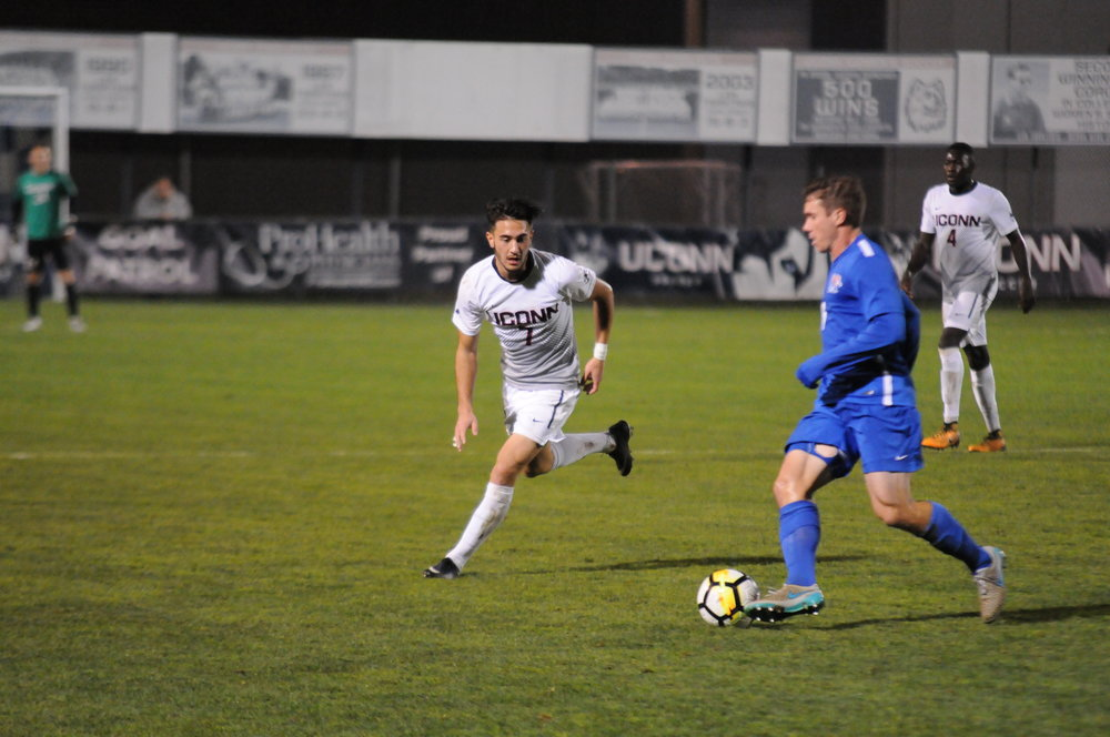 The men's soccer team closed out the regular season with a win over Yale. (Jon Sammis/The Daily Campus)