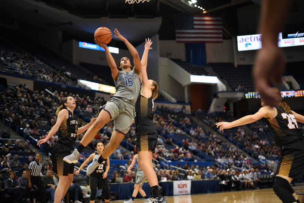 The UConn women's basketball team came away with a 82-37 victory over Fort Hays State, their first live-action match since their loss seven months ago. (Charlotte Lao/The Daily Campus)