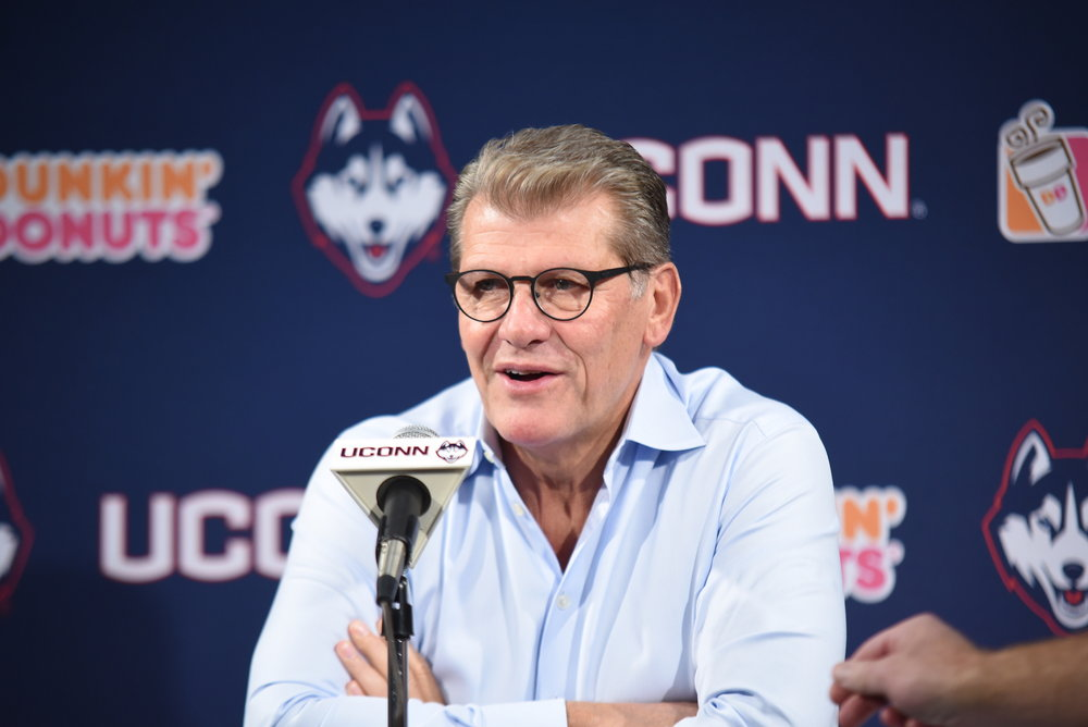 Head Coach Geno Auriemma after his team's blowout win against Fort Hays St. (Charlotte Lao/The Daily Campus)