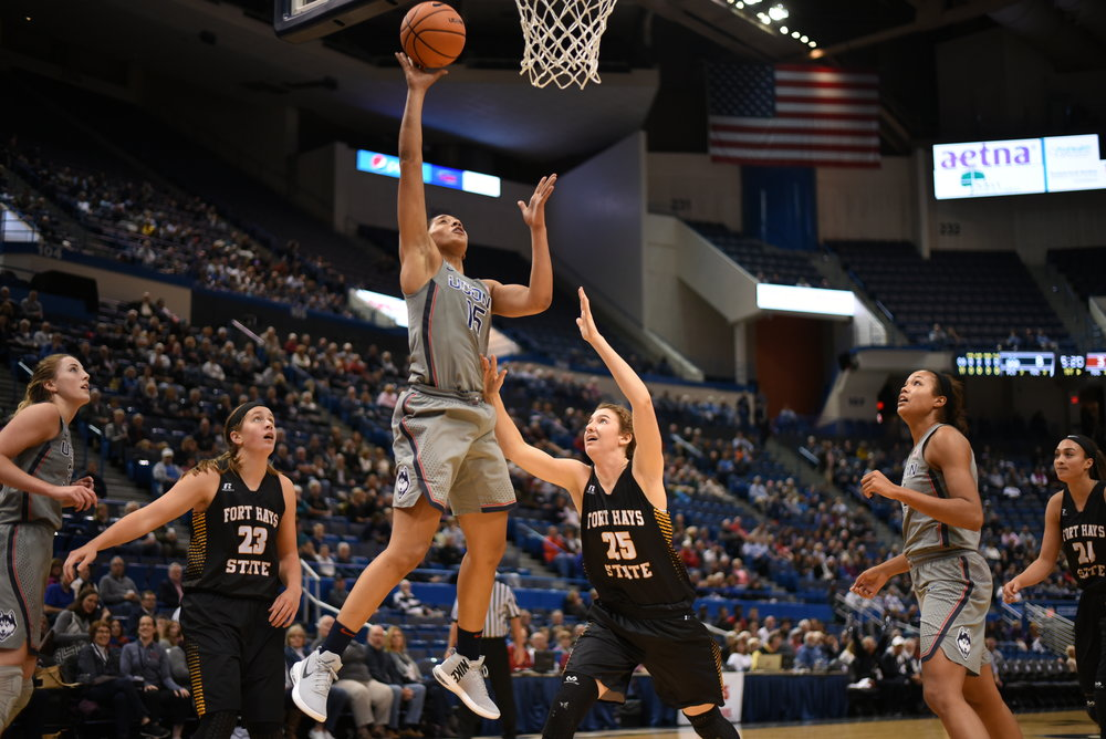 Sunday's exhibition will tip off at 1 p.m. at Gampel Pavilion as part of a double-header in the first games under the newly-renovated roof. (Charlotte Lao/The Daily Campus)