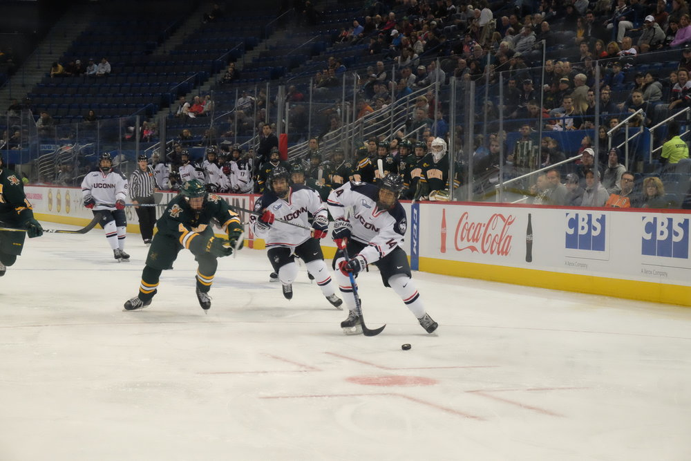 UConn hit the ice to face Vermont on Saturday Nov. 4 at the XL Center. Although starting with an early lead, the Huskies fell apart, ending up with a 4-2 loss (Jon Sammis/The Daily Campus)