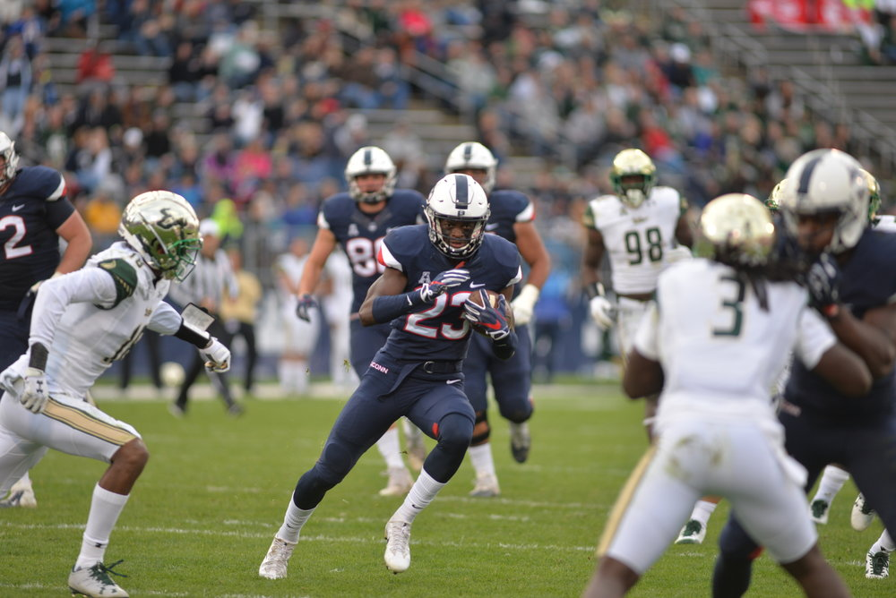 The UConn football team fell 37-20 to USF on Saturday, Nov. 4, 2017 at Rentschler Field. The game was the last home game for the Huskies. (Amar Batra/The Daily Campus)
