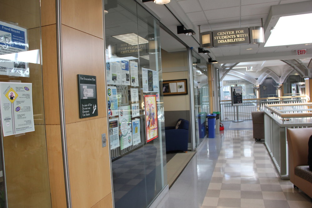 """War and Disability,"" an exhibit by the CSD that displays five informational banners, details the contribution of people with disabilities in the military, as well as how the United States government has handled the care of people who develop disabilities in combat. (Natalia Pylypyszyn/The Daily Campus)"