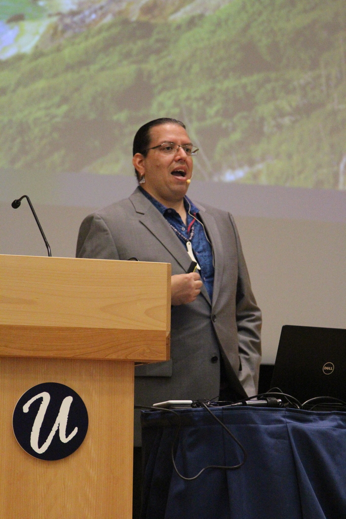 The Native American Cultural Society hosts keynote speaker Jonathan Perry to kick off Native American Heritage Month. The presentation focused on how to protect and preserve Native American heritage. (Mitchell Lisowski/The Daily Campus)