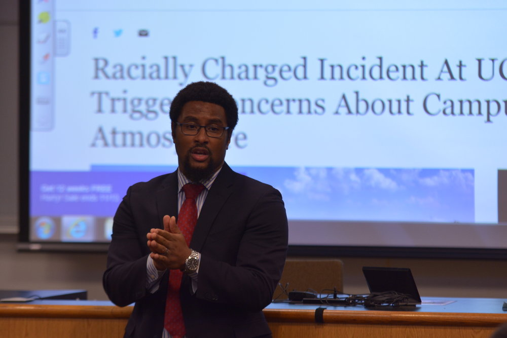"Dr. Joseph Cooper, an assistant sports management professor, held a discussion entitled ""Racism at UConn and Beyond"" as part of UConn's day of Metanoia. (Nicholas Hampton/The Daily Campus)"