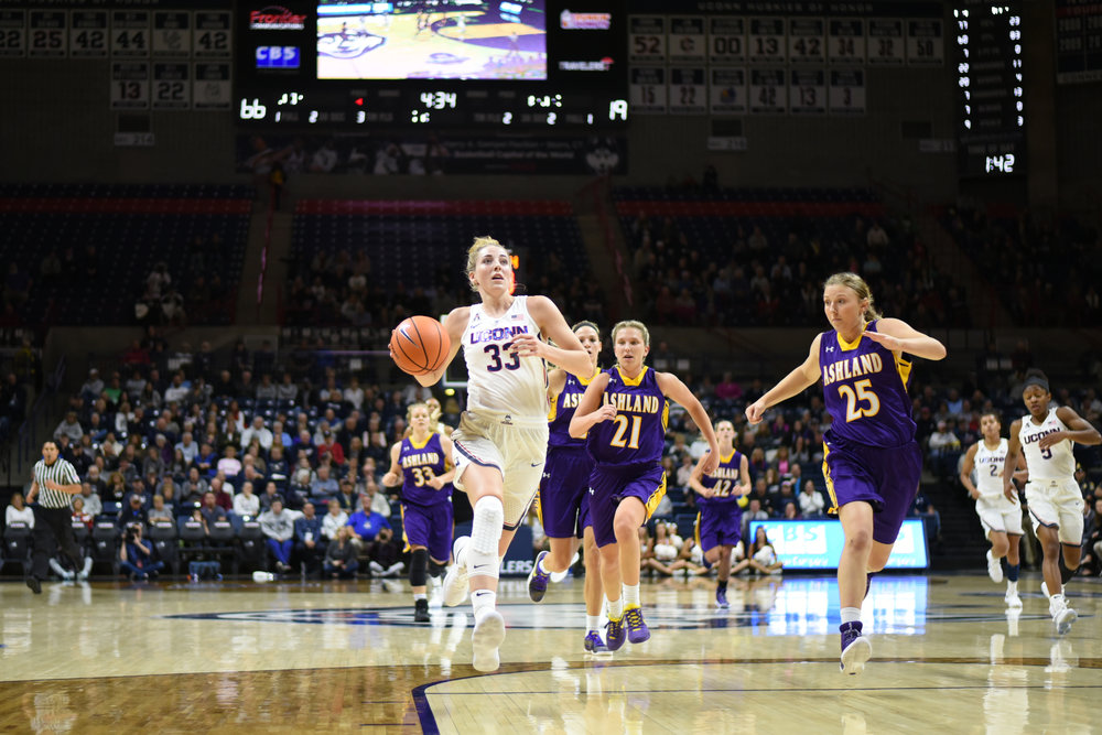 Katie Lou Samuelson drives the lane. (Charlotte Lao/The Daily Campus)