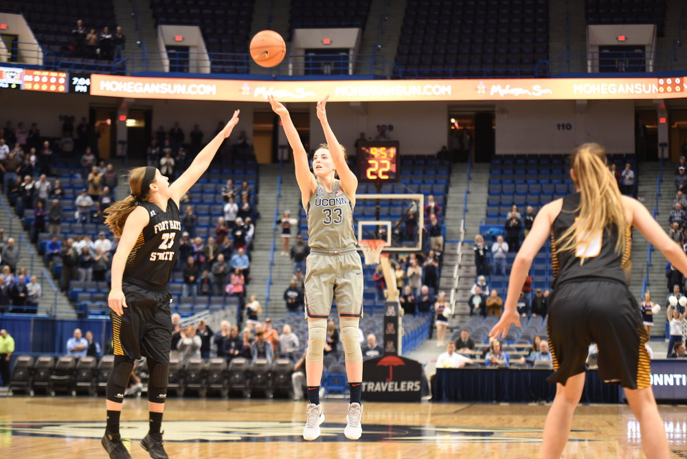 Katie Lou Samuelson rises up for a shot against Fort Hayes. (Charlotte Lao/The Daily Campus)