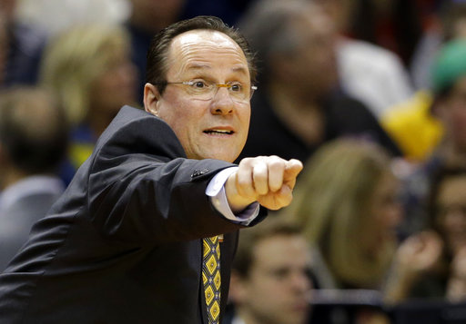 FILE - In this March 17, 2017, file photo, Wichita State head coach Gregg Marshall directs his team against Dayton during the first half of a first-round game in the men's NCAA college basketball tournament in Indianapolis. (AP Photo/Michael Conroy, File)