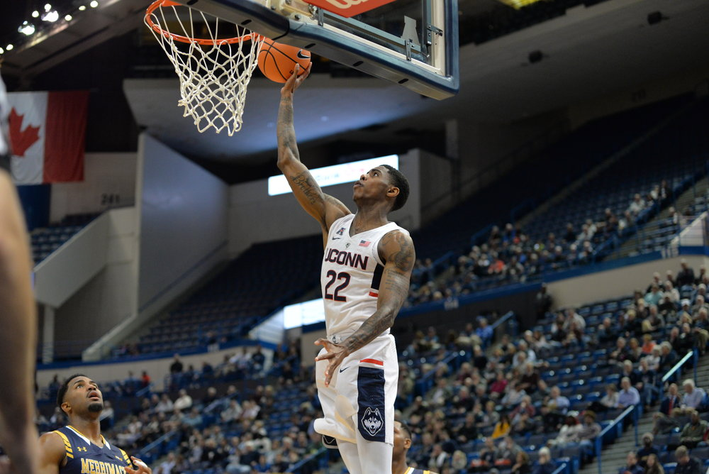 Terry Larrier goes up for a layup in UConn's exhibition game against Merrimack at the XL Center. Larrier scored a career-high 27 points with six rebounds in UConn's 70-58 win in their season opener. (Amar Batra/The Daily Campus)