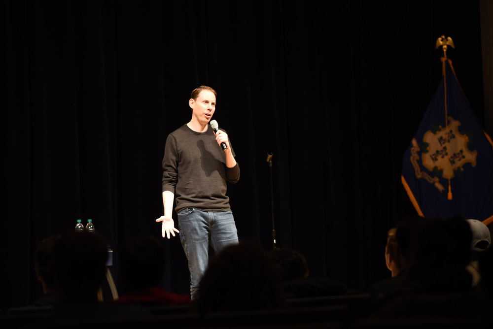"""SUBOG hosts Ryan Hamilton in the Student Union on Nov. 13, 2017. He recently came out with a Netflix special called """"Happy Face"""". (Charlotte Lao/The Daily Campus)"""