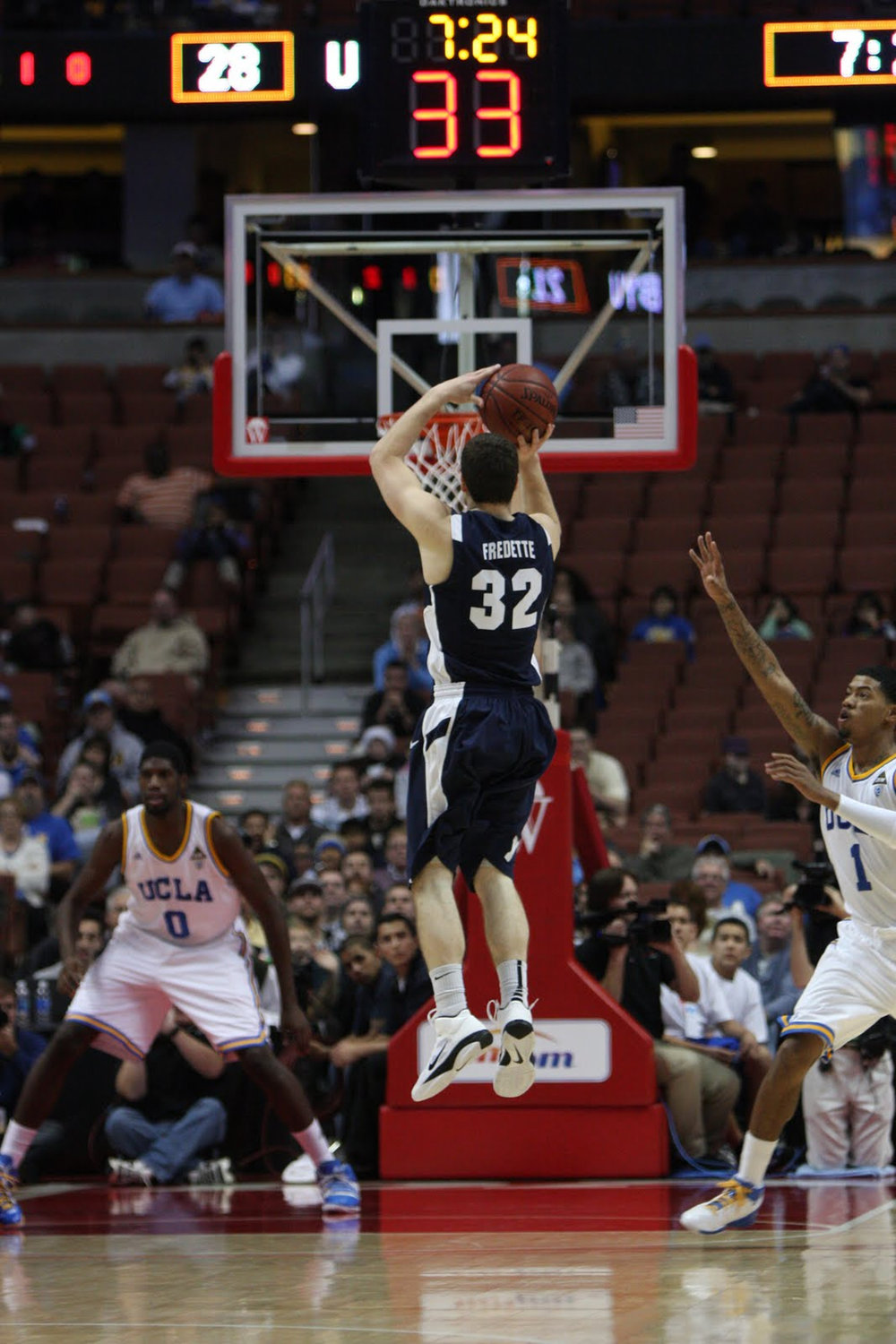 Jimmer Fredette takes a three point jumpshot for BYU at the John Wooden Classic. ( TheDailySportsHerald /Flickr, Creative Commons)