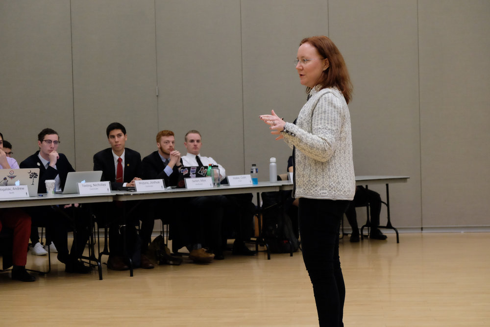 Associate Vice President for Student Affairs and Dean of Students Eleanor JB Daugherty discusses the University of Connecticut budget for mental health services with the Undergraduate Student Government on Wednesday, Nov. 16, 2017. (Jon Sammis/The Daily Campus)
