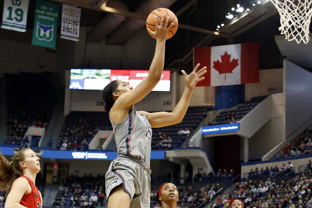 UConn forward Gabby Williams goes up for a layup in the Huskies' 97-72 win over the Maryland Terrapins on Sunday, Nov. 19 at the XL Center in Hartford, Connecticut. (Photo courtesy of Ian Bethune)