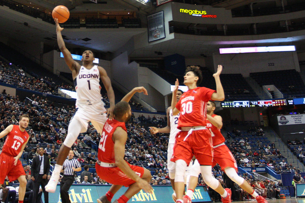 UConn sophomore guard Christian Vital goes up for a layup in the Huskies' 85-66 win over the Boston Terriers on Sunday, Nov. 19 at the XL Center in Hartford, Connecticut. (Photo courtesy of Ian Bethune)