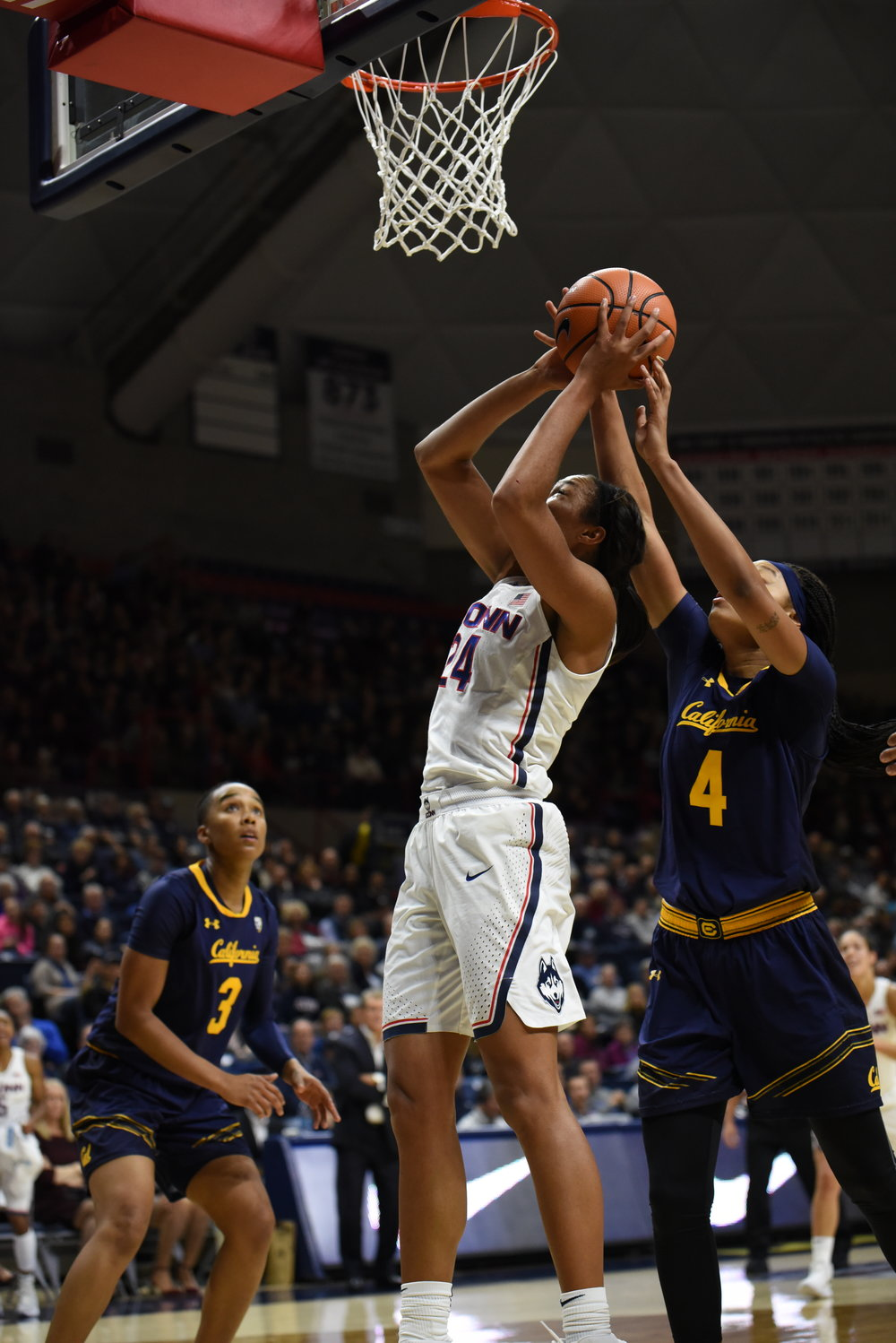 UConn junior forward Napheesa Collier goes up for a layup surrounded by two California defenders in the Huskies' 82-47 win on Friday, Nov. 17 at Gampel Pavilion in Storrs, Connecticut. (Photo by Charlotte Lao, Associate Photo Editor/The Daily Campus)