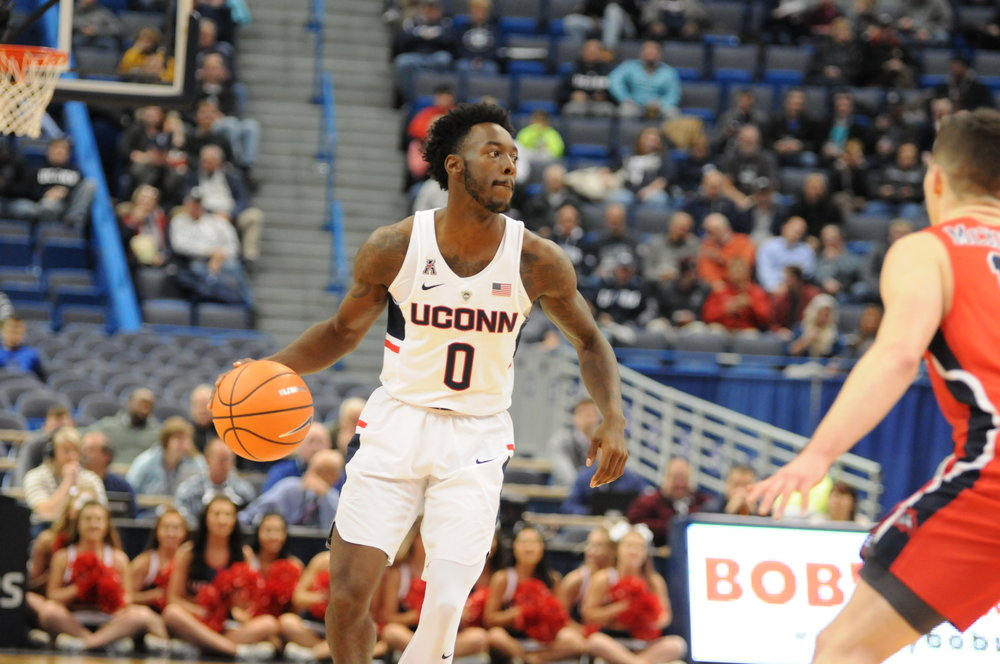 UConn guard Antwoine Anderson dribbles during UConn's 72-64 win over Stony Brook on Nov. 14 at the XL Center in Hartford. (Amar Batra/The Daily Campus)
