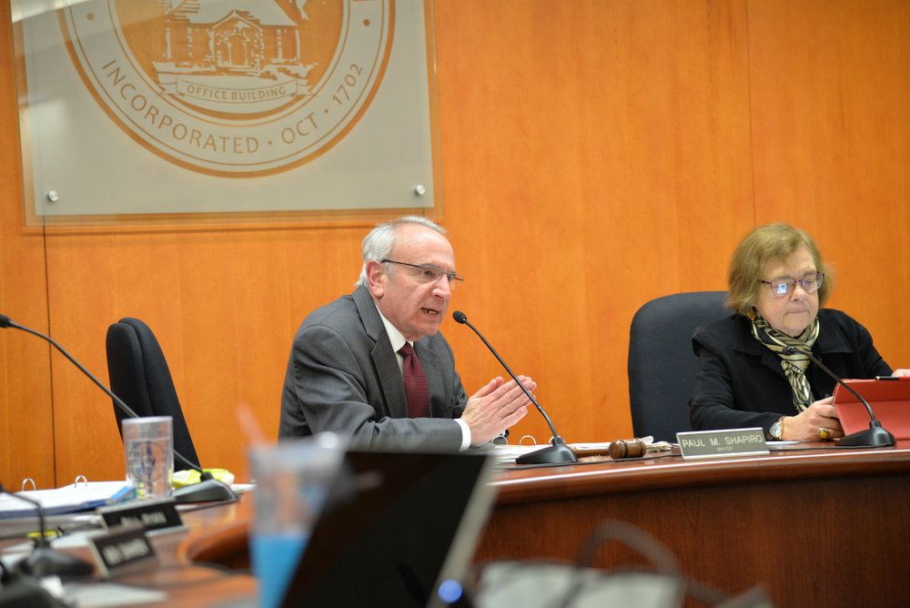 The Mansfield town council meets for its weekly meeting to discuss the emergency services information, sewer budgets, and the new zoning ordinance on Monday evening in town hall. (Amar Batra/The Daily Campus)