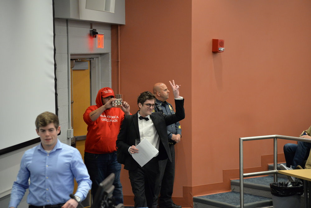 Wintrich entered Schenker Hall to a largely negative reaction with cheers sprinkled in from the hosting group. (Amar Batra/The Daily Campus)