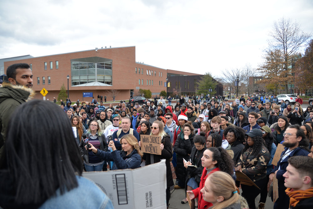 Students mobilize in a March For Action in response to Tuesday's incident and President Herbst's response on Friday, Dec.1, 2017. Student activists and leaders stood in front of Wilbur Cross and demanded that university administration do something to make things safer on campus. (Amar Batra/The Daily Campus)
