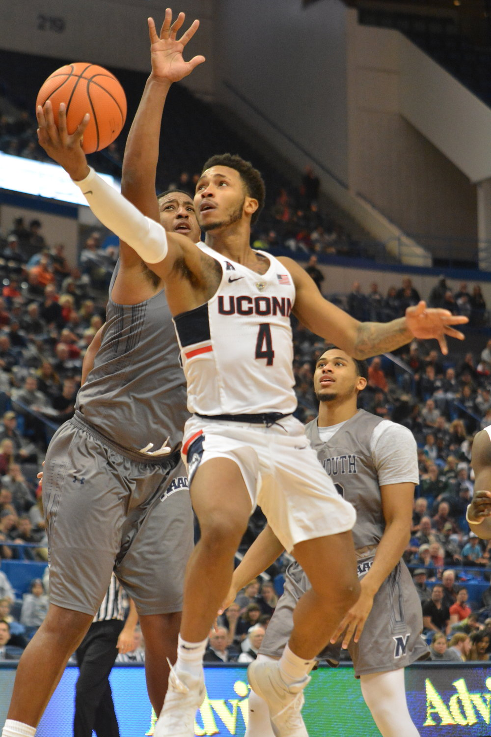Junior Jalen Adams' 32 points were a major key in UConn's defeat of Monmouth Saturday (Olivia Stenger/The Daily Campus)