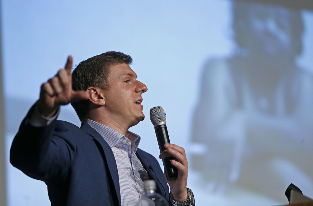 James O'Keefe, of Project Veritas, speaks at on the Southern Methodist University campus in Dallas, Wednesday, Nov. 29, 2017. (Jae S. Lee/AP)