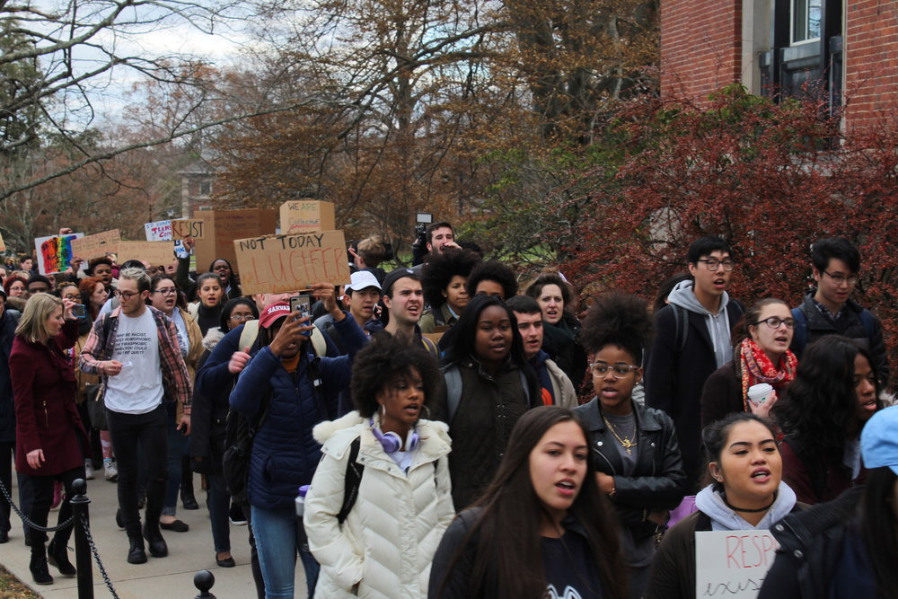 "Students organized a ""March for Justice"" on Friday, Dec. 1 to demand action from the administration following Lucian Wintrich's speech title ""It's OK to be white"" on Tuesday. The march started in front of the husky statue by Gampel Pavilion and ended in front of Wilbur Cross where speeches from students were made. (Kimberly Nguyen/The Daily Campus)"
