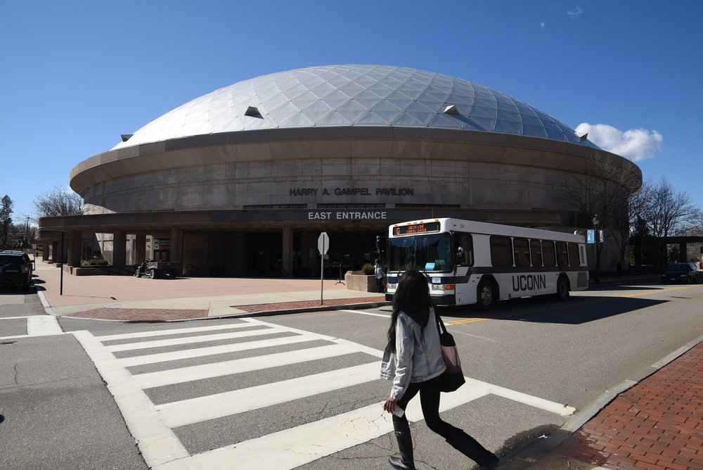 UConn students living in Storrs Center will now have easier access to games at Gampel Pavillion, courtesy of a UConn Transportation shuttle. (File Photo/The Daily Campus)