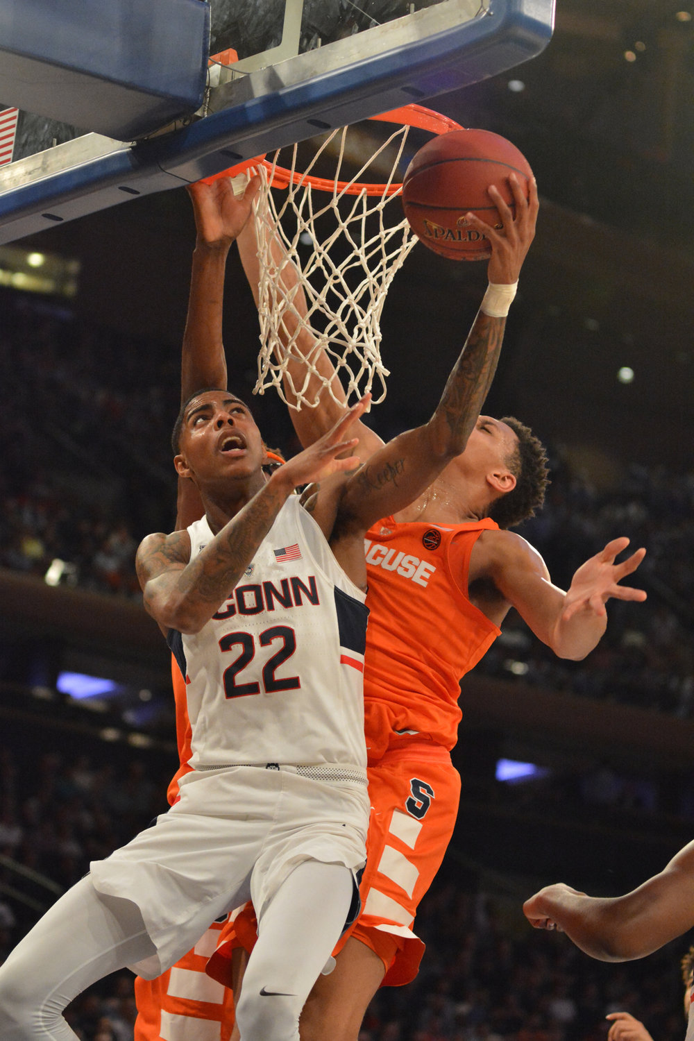 Terry Larrier (22) attempts a lay-up during the Huskies 72-63 loss to the Syracuse Orange at Madison Square Garden on Tuesday, Dec. 6, 2017. (Olivia Stenger/The Daily Campus)